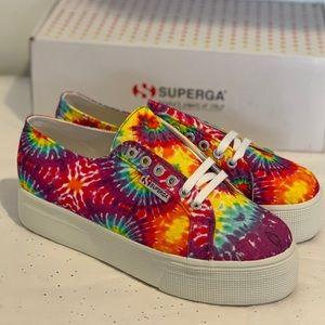 Superga 🌈 Rainbow TIEDYE Platform Sneakers NEW!